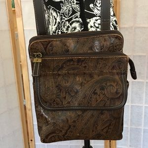 Vintage Relic Tooled Brown Crossbody Bag Man Made